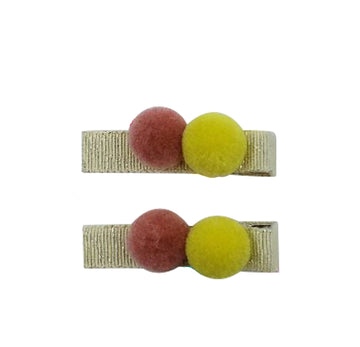 Five / Eleven Hairclip Pom Pom H Gold Pink Yellow