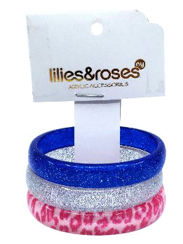 Lilies & Roses NY Blue Glitter, Silver Glitter, Pink Print 3-Pack Bracelet
