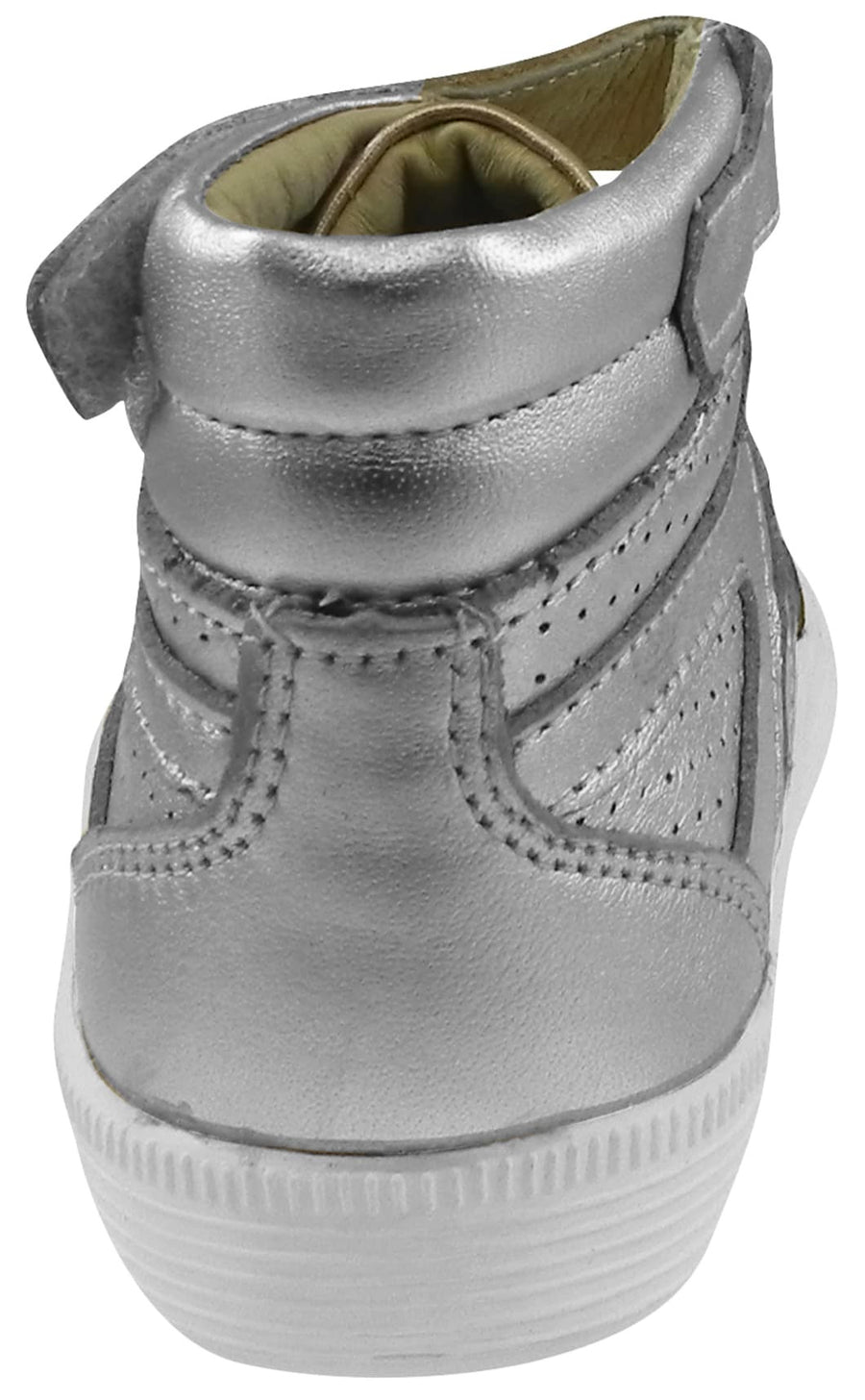 Old Soles Boy's and Girl's Star Jumper Silver Leather Elastic Lace Hook and Loop High Top Sneaker