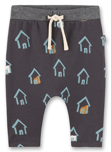 Sanetta Dark Grey House Print Pants