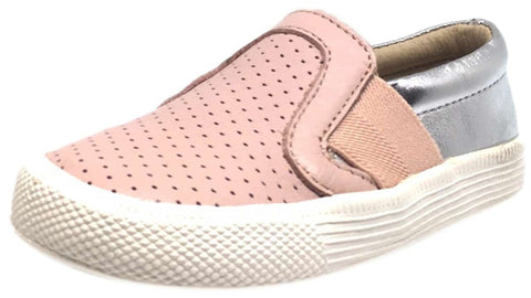 Old Soles Girl's 1056 Powder Pink & Silver Perforated Leather Praise Hoff Slip On Elastic Loafer Sneaker