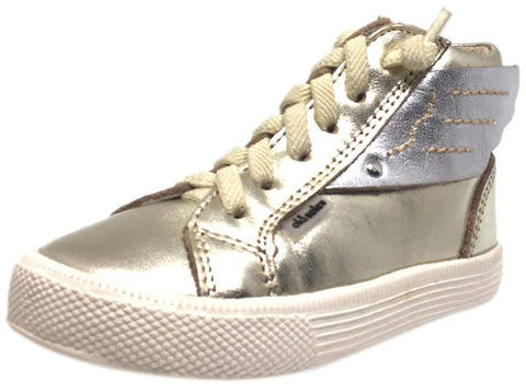 Old Soles Girl's and Boy's 1057 Gold Leather Urban Wings High Top Lace Up Sneaker Shoe