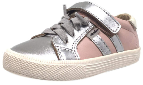 Old Soles Girl's Pink & Silver Leather Casting Shoe Lace Up Hook and Loop Stripe Slip On Sneaker