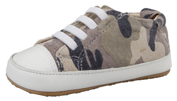 Old Soles Boy's & Girl's 106R Eazy Jogger Leather Slip On Sneakers - Army Camo/Snow