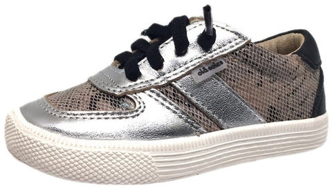 Old Soles Boy's and Girl's Black Mumba Silver Leather Urban Code Lace Up Tri Colored Stripe Slip On Sneaker