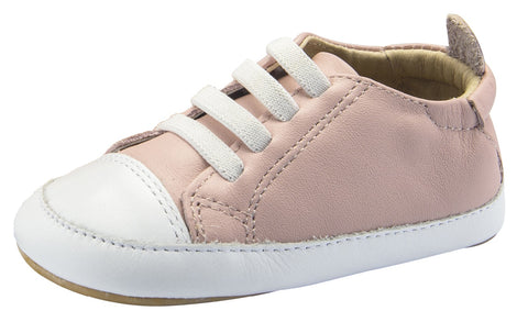 Old Soles Girl's Eazy Jogger Vintage Trainer Powder Pink White Sneakers