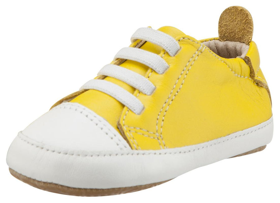 Old Soles Boy's & Girl's 106R Eazy Jogger Vintage Trainer Yellow and White Leather Slip On Sneakers