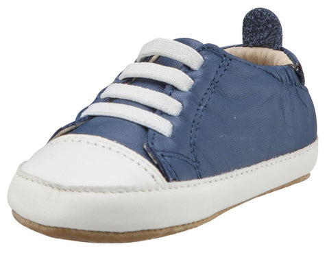 Old Soles Boy's & Girl's 106R Eazy Jogger Vintage Trainer Denim Blue and White Leather Slip On Sneakers