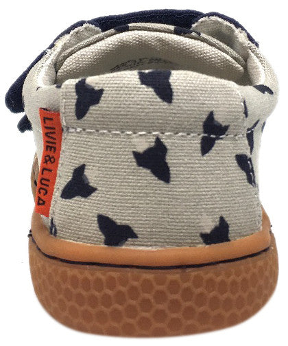 Livie & Luca Boy's Hayes Navy Rocket Natural Textile Color Changing Sneaker Shoe with Double Hook and Loop Straps
