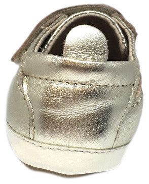 Old Soles 113R Girl's and Boy's Gold Bambini Soft Leather Double Crib Walker Baby Shoes