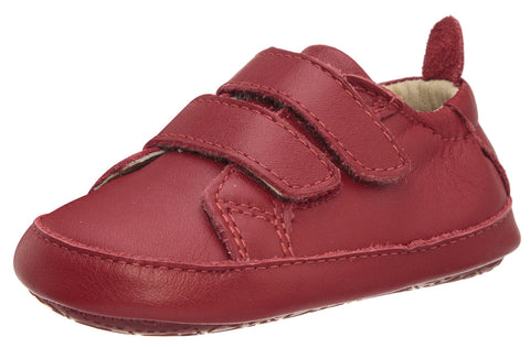Old Soles Girl's & Boy's 113R Bambini Markert Red Soft Leather Double Velcro Crib Walker Baby Shoes