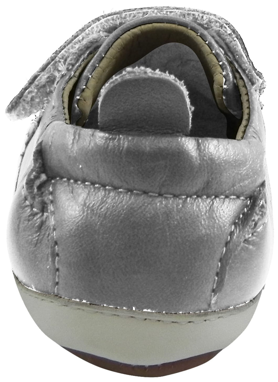 Old Soles 113R Girl's and Boy's Silver Bambini Soft Leather Double Crib Walker Baby Shoes