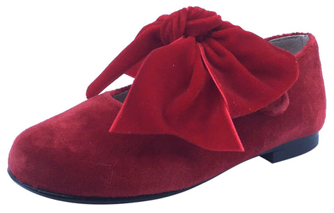 Hoo Shoes Girl's Velvet Mary Jane, Red with Bow