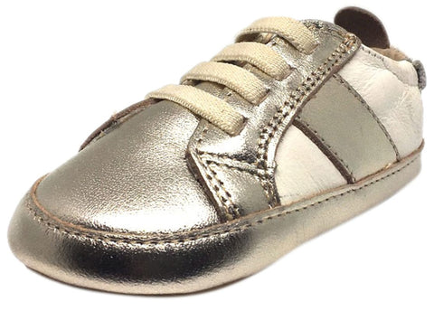 Old Soles Boy's and Girl's Gold White Leather Gig Shoe Stripe Elastic Lace Slip On Crib Walker Baby Shoe