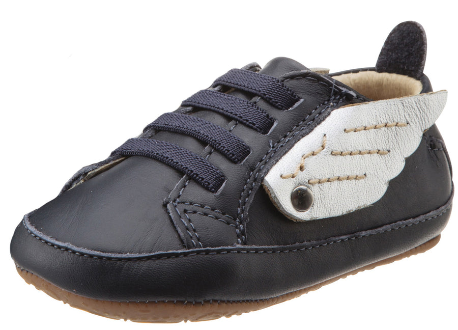 Old Soles Boy's and Girl's Navy & Silver Winged Leather Bambini Wings Elastic Lace Slip On Crib Walker Baby Shoe