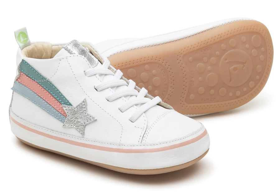 Tip Toey Joey Girl's Rainbowy Sneakers, White/Sterling