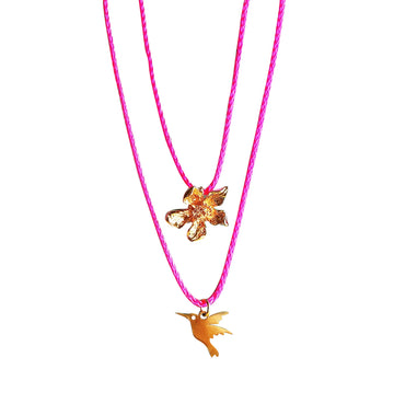 Gunner & Lux Flower & Hummingbird Necklaces