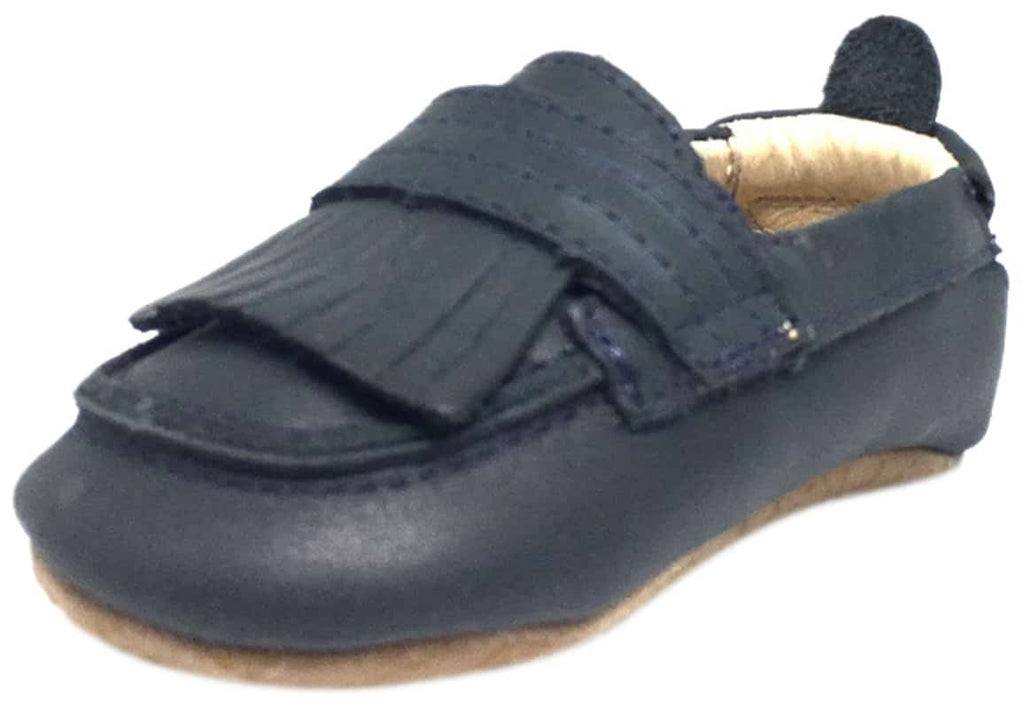 3e11d2236e2 Old Soles Boy s and Girl s Distressed Navy Leather Bambini Domain Tassel  Fringe Loafer Crib Walker Baby