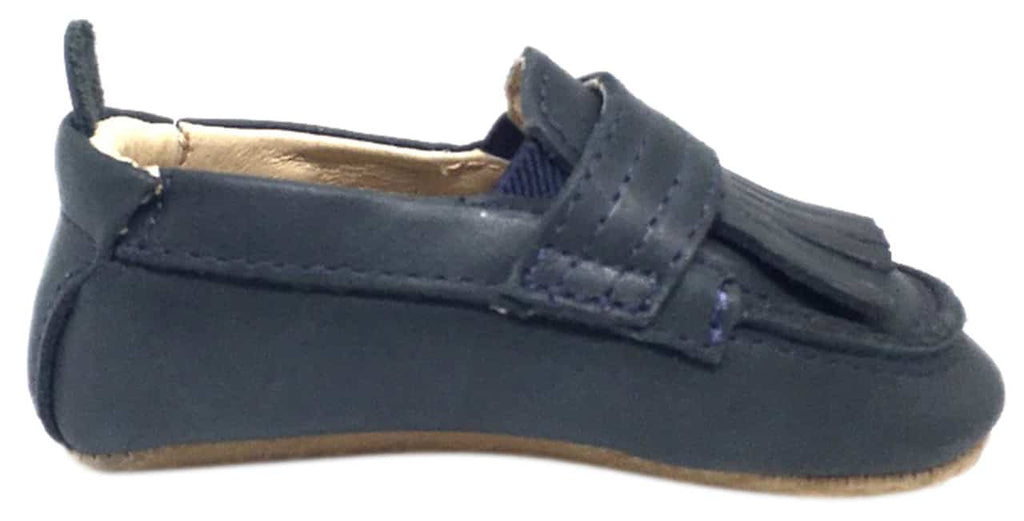 Old Soles Boy's and Girl's Distressed Navy Leather Bambini Domain Tassel Fringe Loafer Crib Walker Baby Shoe