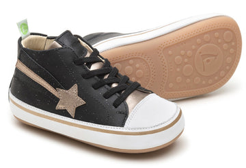 Tip Toey Joey Girl's and Boy's Shooting Star Sneakers, Black Galaxy/Gold Metallic