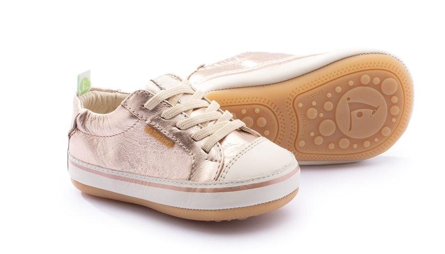 Tip Toey Joey Girl's Funky Sneakers, Tapioca/Metallic Salmon