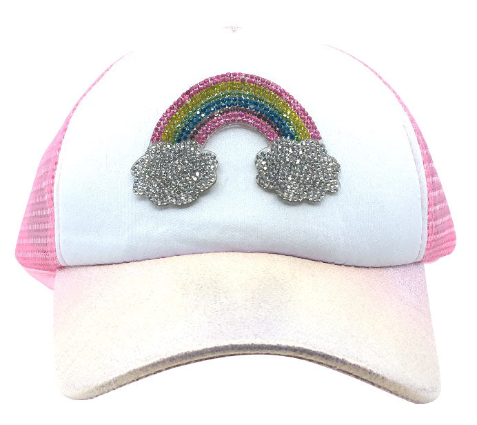 Bari Lynn Toddler/Little Girl's Sparkle Rainbow Pink Trucker Hat