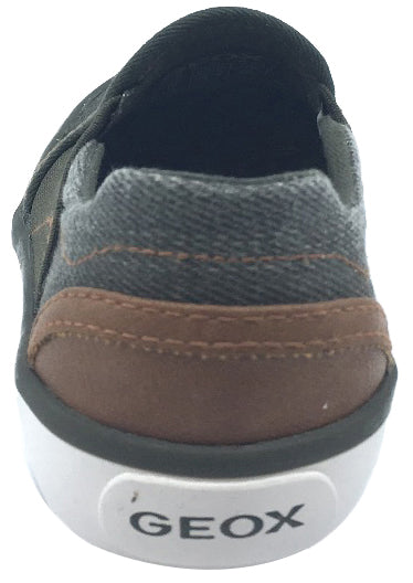 Geox Boy's and Girl's Kilwi Military Green and Brown Canvas Slip On Sneaker