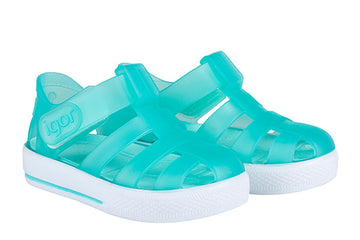 Igor S10171 Girl's and Boy's Star Sandals - Aqua