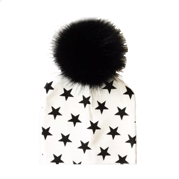 Tiny Trendsetter Stars Pom Pom Beanie Hat - White with Black Stars