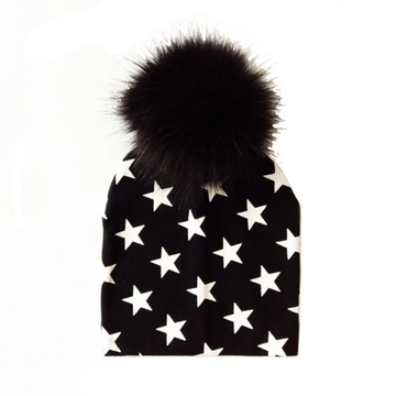 Tiny Trendsetter Stars Pom Pom Beanie Hat - Black with White Stars