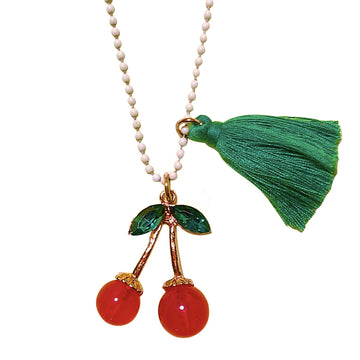 Gunner & Lux Rhinestone Cherries Necklace