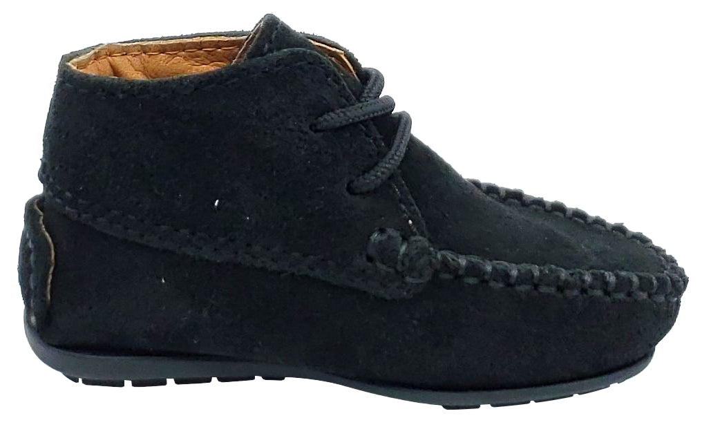 Atlanta Mocassin Girl's and Boy's Suede Booties, Black
