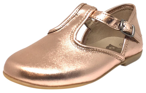 Hoo Shoes Girl's Chloe's Bright Metallic Rose Gold T-Strap Adjustable Buckle Mary Jane Flats