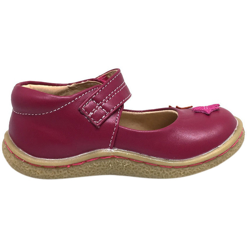 Livie & Luca Girl's Maple Leaf Magenta Leather Hook and Loop Mary Jane Shoe