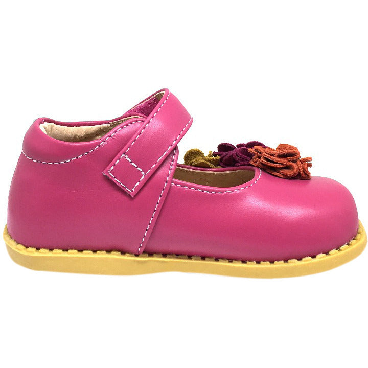 Livie & Luca Girl's Magenta Dahlia Leather Suede Flower Hook and Loop Mary Jane Shoes