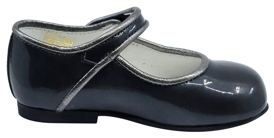 Andanines Girl's Metallic Trim Mary Jane, Charcoal/Silver Trim