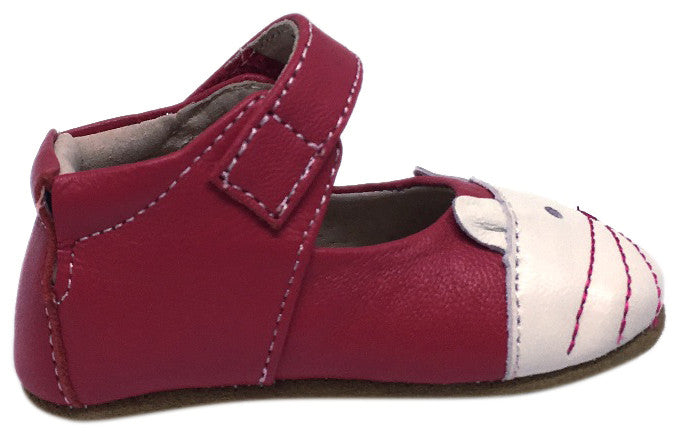 Livie & Luca Girl's Kitten Smooth Hot Pink Leather Kitten Character T-Strap Shoe with Hook and Loop Closure