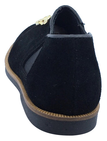 Luccini Maggie Boy's & Girl's Black Suede Leather Slip On Dress Shoe