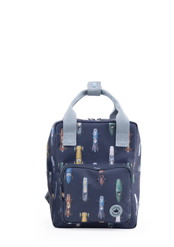 Studio Ditte Small Backpack Dark Blue, Racing Cars