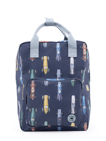 Studio Ditte Large Backpack Dark Blue, Racing Cars