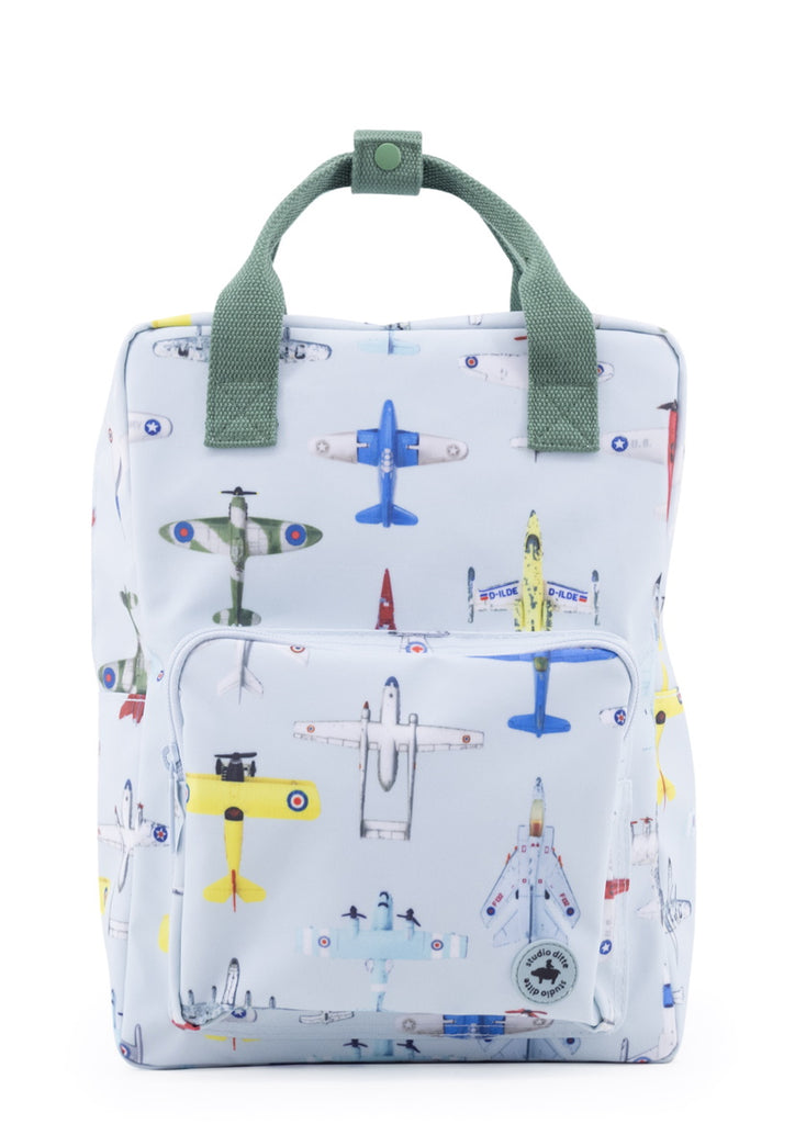 Studio Ditte Large Backpack Ice Blue, Airplanes