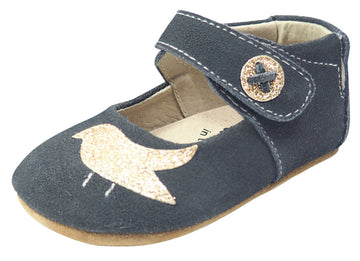 Livie & Luca Girl's Pio Pio Gray Suede Leather Shimmer Dove Hook and Loop Mary Jane Shoes