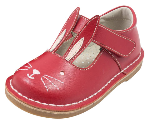 Livie & Luca Girl's Molly Red Leather Bunny Character Hook and Loop Mary Jane Shoes