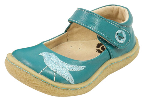 Livie & Luca Girl's Pio Pio Teal Leather Shimmer Dove Hook and Loop Mary Jane Shoes
