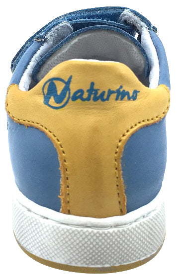 Naturino Boy's 9105 Blue Double Strap Hook and Loop Sneaker