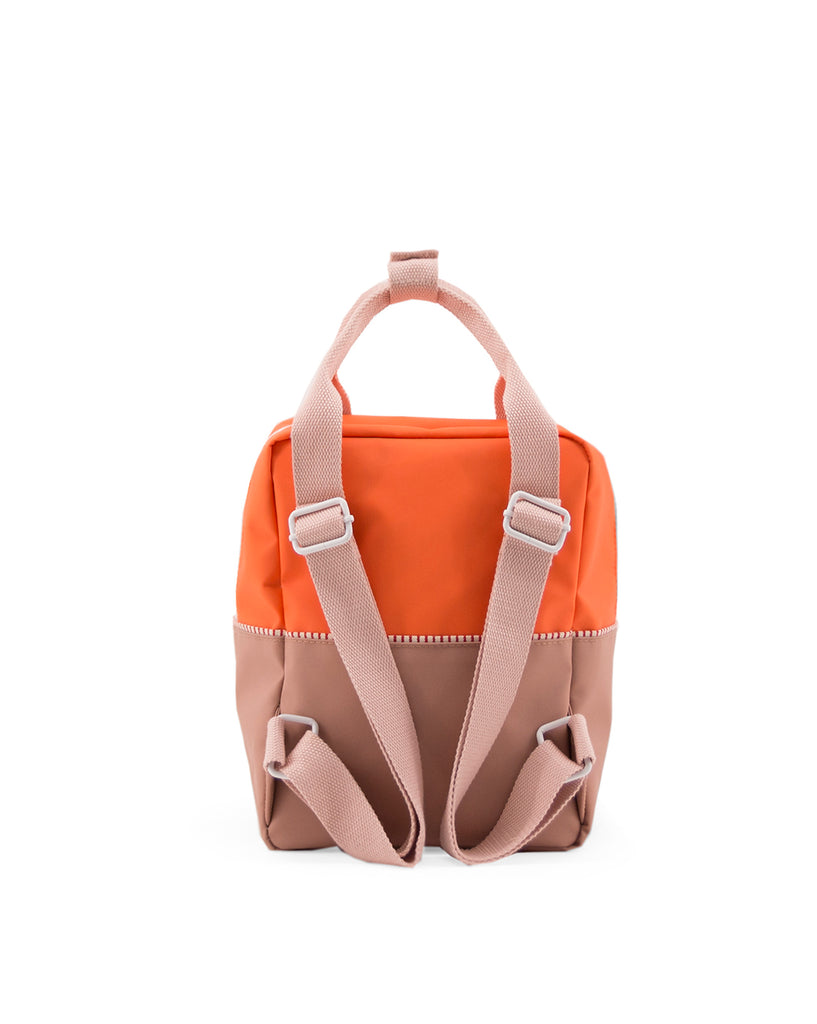 Sticky Lemon Color Block Collection Small Backpack, Royal Orange/Chocolat/Pastry Pink