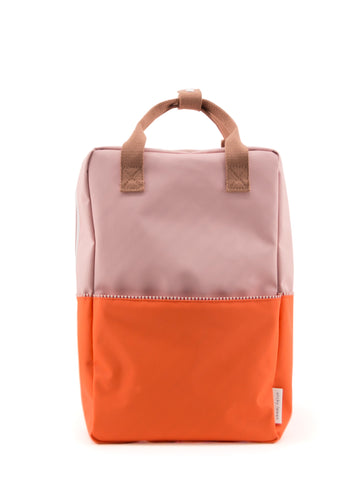 Sticky Lemon Large Backpack Color Block Collection, Pastry Pink/Royal Orange/Chocolat