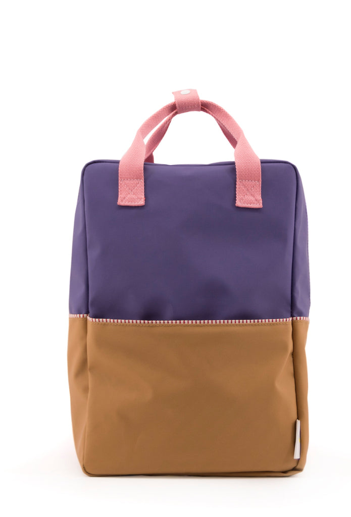 Sticky Lemon Large Backpack Color Block Collection, Purple/Gold/Puff Pink