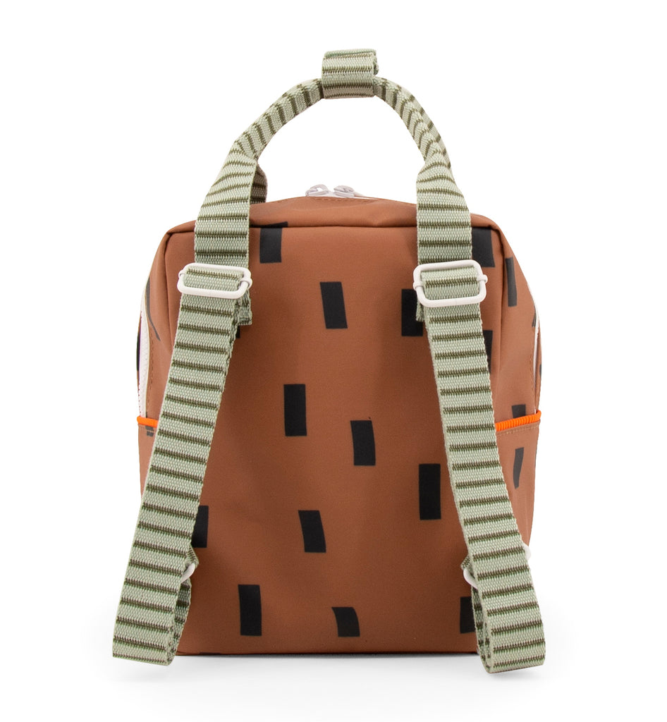 Sticky Lemon Sprinkles Special Edition Collection Small Backpack, Cinnamon Brown/Sage Green/Roral Orange