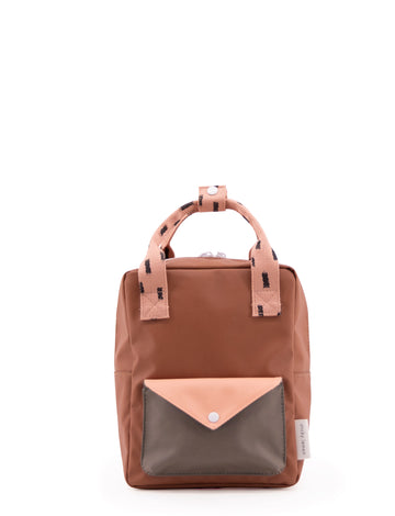 Sticky Lemon Sprinkles Envelope Small Backpack, Cinnamon Brown/Lemonade Pink/Moss Green
